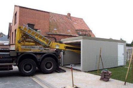 Levering betongarage transport werfvoorbereiding for Construction garage en beton